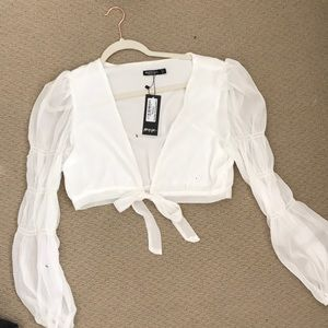 Nasty Gal tie white top